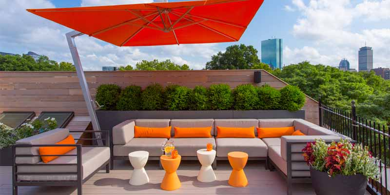 Orange rooftop furniture in garden